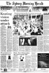 Front page of SMH on January 31, 1996