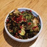 A staff recommendation: Fried Brussels sprouts with cauliflower puree and pomegranate.