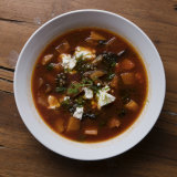 The bowl of minestrone with baby blue lentils from the Urban Winery Sydney.