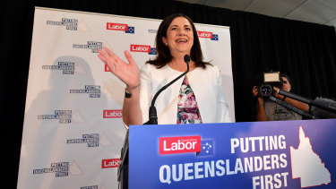 Queensland Premier Annastacia Palaszczuk addresses supporters at Darra's Cementco Bowls Club to start Labor's 2017 state election campaign.