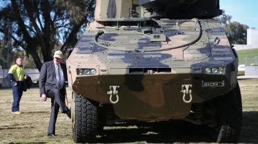 The Rheinmetall Boxer CRV at Parliament House.