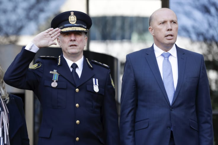 Australian Border Force Commissioner Michael Outram and Minister for Home Affairs Peter Dutton in May.