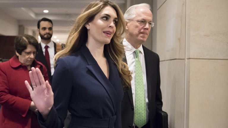 Hope Hicks, one of President Trump's closest aides, declined to answer questions about the presidential transition or her time in the White House.