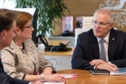Scott Morrison meets with cabinet members, including foreign affairs minister Marise Payne on the first work day after his re-election.