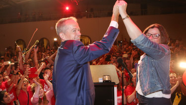 Labor leader Bill Shorten with winning candidate Ged Kearney.
