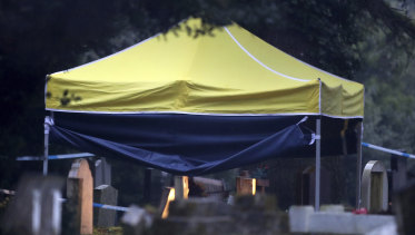 A tent erected at the London Road cemetery in Salisbury over the grave of Liudmila Skripal.