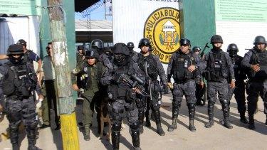 Policemen guard the Palmasola jail in Santa Cruz, Bolivia, earlier this month.