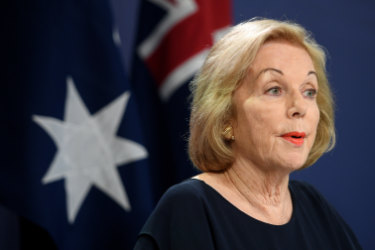 ABC chair Ita Buttrose at a press conference with Prime Minister Scott Morrison.