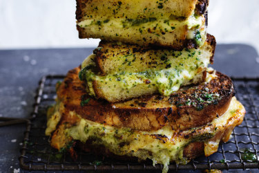 Jill Dupleix's garlic bread cheese toastie.