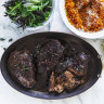 Adam Liaw's shiraz and aniseed beef cheeks, and carrot, pecorino and parsley