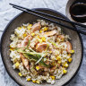 Adam Liaw's salmon and corn rice, and miso-roasted eggplant