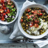 Neil Perry's chickpea and green lentil curry with spinach