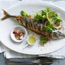 Grilled whole mackerel with ginger masala and onion salad