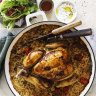 Karen Martini's roast chicken on baked rice with tomato, cumin and bay leaves