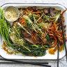 Warm beef noodle salad