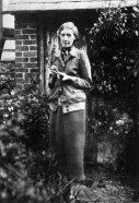 Virginia Woolf in the garden of her house in Rodmell, 1926.