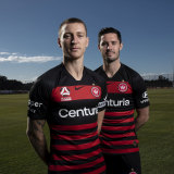 Mitchell Duke and recruit Dylan McGowan, who will be Western Sydney's vice-captain this season.