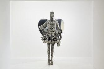 Look 2, ensemble from Richard Quinn's 2020 autumn-winter collection on display in NGV Triennial.© Richard Quinn