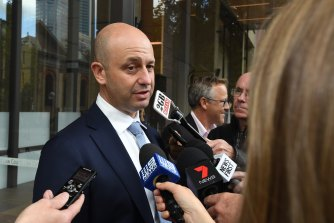 Case in point: Todd Greenberg speaks to the media outside court.