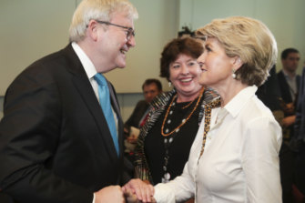 Mr Rudd and fellow former foreign minister Julie Bishop.