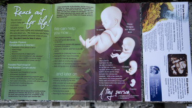 Pamphlets given out by anti-abortion activists.