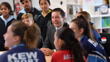 Matthew Guy at Kew Primary School on Monday.