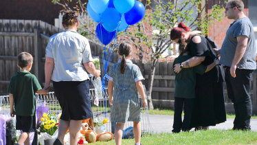 Schoolchildren and parents visited the property on Friday afternoon to pay their respects.