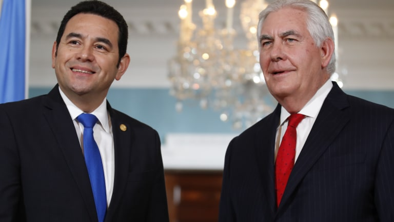 US Secretary of State Rex Tillerson  with Guatemalan President Jimmy Morales at the State Department in Washington in February.