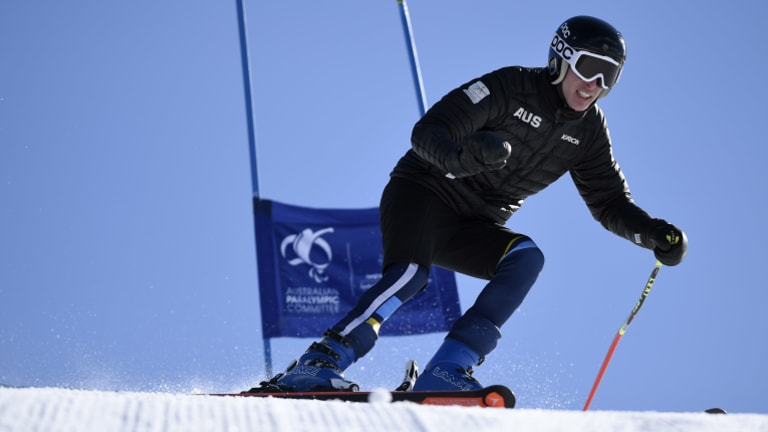 Jonty O'Callaghan hits the slopes in training.