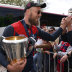 Max Gawn arrives with the premiership cup at the team celebrations the day after the grand final.