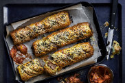 Sticky Korean beef sausage rolls with kimchi ketchup.
