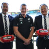 Carlton's newly-appointed senior coach Michael Voss (centre),president Luke Sayers (left) and CEO Brian Cook.