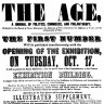 The Age poster advertising the publication of the first edition on October 17, 1854.