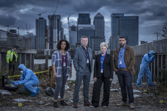 Tori Allen-Martin, Hugo Speer, Sharon Small and Bailey Patrick in London Kills.