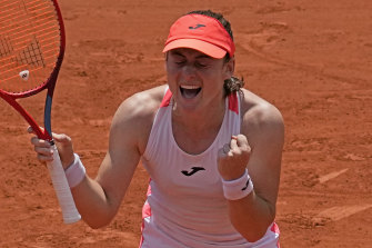 Tamara Zidansek celebrates her place in the French Open semi-finals, a result which dwarves her previous best return at a major - reaching the second round in Melbourne (2019 and 2020) and at Wimbledon in 2019.