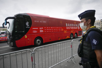 The Bahrain Victorious team bus is parked before the start of the 18th stage of the Tour de France.