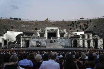 The Arena di Verona theatre, in Verona, Italy.