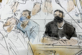 A court sketch of Salah Abdeslam, right, and Mohammed Abrini in the courtroom.
