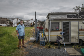 Kevin Allen, who lost his home from bushfires earlier this year, is now living in a caravan on his property.