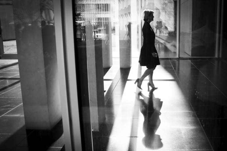 Julie Bishop walks away after her final press conference as a cabinet minister.