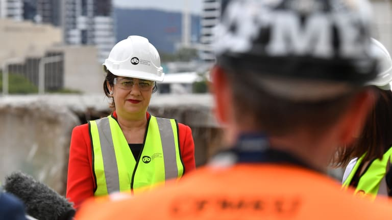 Queensland Premier Annastacia Palaszczuk speaking to reporters on Thursday at the Queen's Wharf construction site.