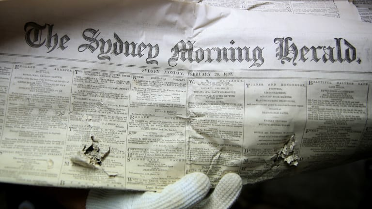 A copy of the Sydney Morning Herald from February 29, 1892 found in the Belmont House time capsule.