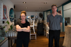 Cafe All Sorts co-owners Katrina Barlow and Cameron Shield's sales have recovered to about 60 to 65 per cent of their pre-pandemic trade.
