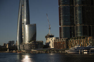 Crown's 75-storey casino tower - Sydney's tallest building - dominates the Barangaroo skyline.
