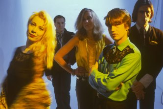 The Go-Betweens with Brown (left) and Grant McLennan, Lindy Morrison, Robert Vickers and Robert Forster.