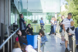 People wait outside the Royal Australian Mint for the first ticket to be pulled for the first coin strike of 2019.
