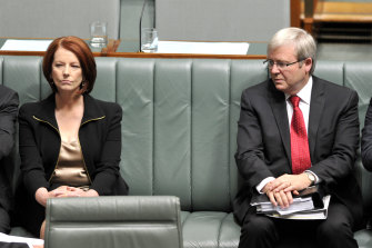 Awkward post-coup body language between then PM Julia Gillard and foreign minister Kevin Rudd, in October 2010.