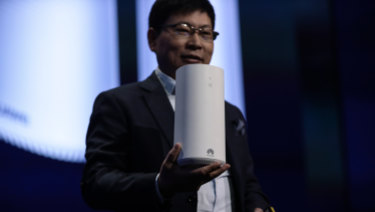Richard Yu, chief executive of Huawei, launches 5G customer-premises equipment in Spain last month.
