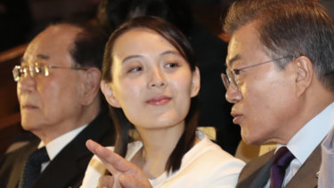 South Koran President Moon Jae-in talks with Kim Yo-jong, North Korean leader Kim Jong-un's sister, on Sunday.