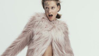 "Unreal Fur ""Dream"" jacket, $309, from The Iconic. Eres briefs, $170, from Sylvia Rhodes."